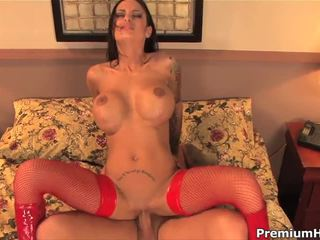 Busty Angelina Valentine In Red Stockings And Boots Gets Slammed