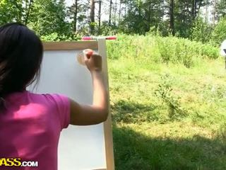 Sexy strap on fuck with young artist outdoor Video