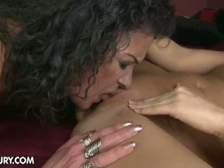 Old And Young Lesbian Love: A horny mama and a hot babe