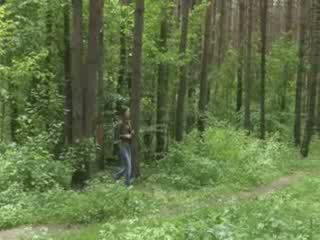 Grass sucking dick in the forest
