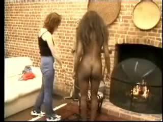 ال أسود girl's الضرب بالعصا