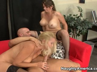 Oustanding Tittie Blonde Milfs Have Erotic 3 Some Nearby Sons Mate