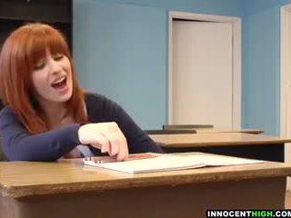 InnocentHigh - redhead coed with hairy pussy Sadie Kennedy deepthroats teacher's cock