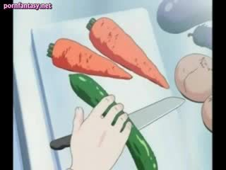 Hentai masturbating with a carrot