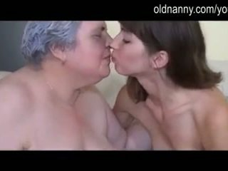 Old busty granny playing with skinny girl
