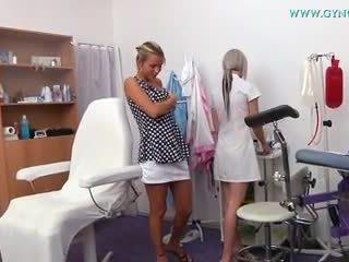 Blonde girl went to her gynecologist for regular exam