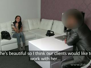 Hot brunette is on a casting where she needs to suck