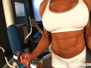 Naked work out with female bodybuilder marina lopez
