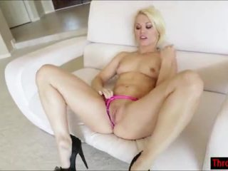 Blonde Ash Hollywood throats a hard cock and gets facialized