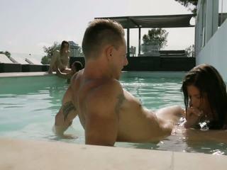 Girl gets banged hard in the pool by her handsome stud