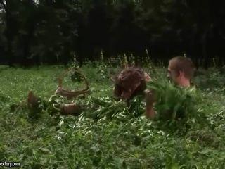 Granny fucks a boy outdoor