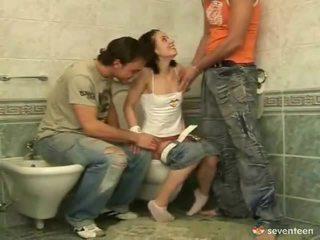 Three some içinde the washroom