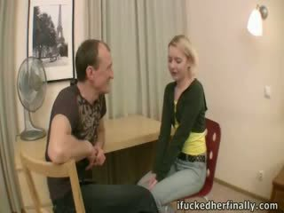 Virgin deflowered by boyfriend's father.