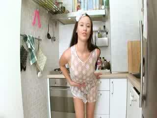 Evelina models pawon cum on the unit