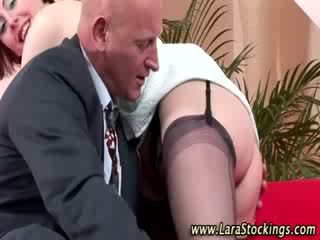 Mature lady in Pantyhose gets hot