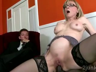 Stunning mature secretary pleases her sons black boss Video