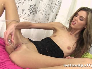 Double handed dildo fuck