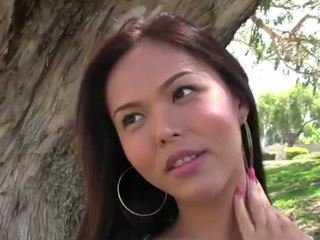 Asian lady boy Taylor Stewart in solo cock play and masturbation