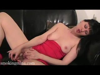 Horny milf mina getting her pussy fucked by a toy