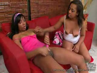 Black lesbians toy in pussy