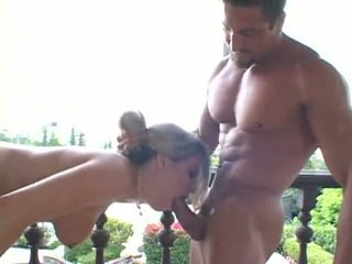 Natural titted babe gets fucked by two guys