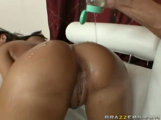 Stunning Busty Brunette With Big Oiled Ass Getting Anal Fucked