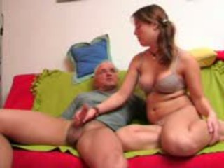 Young chick doing handjob to some old man Video