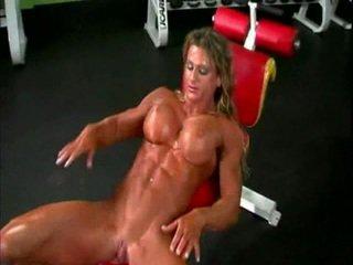 Ýalaňaç bodybuilder lady with big amjagaz