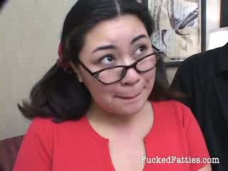 Amazing fat Asian girl with glasses getting destroyed by two horny guys