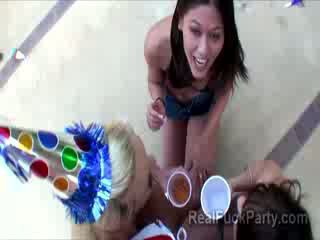 3 cute and naughty party bitches give blowjob in POV at the poolside