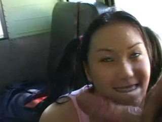 Cute Asian with ponytails fucked in a schoolbus Video