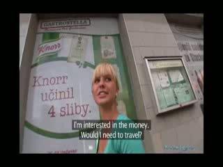 Cute blond amateur fucked for cash