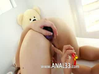 Adorable babes deep dildoing anuses