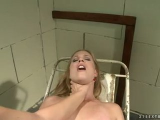Katy Borman Dildo Drill The Bound Chick On Metal Table