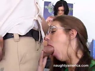 Jezebelle Bond Watching Her Friend While Sucking A Hard Meat Cock