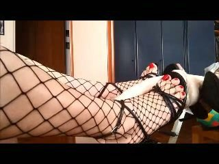 Sex toy for a crossdressers footjob