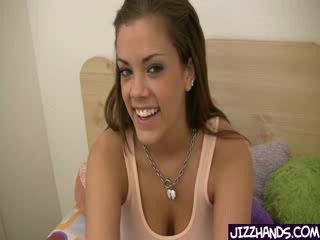 Big Tit babe Katie Cummings Nut Busting Handjob