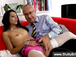 Brunette sexy girl getting rubbed