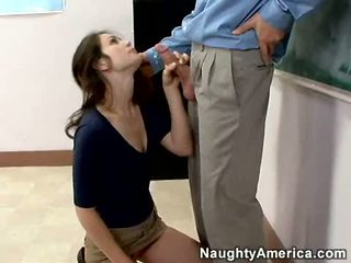 Dirty Bookworm Faith Leon Stuffs Her Mouth With A Thick Shaft And Enjoys It