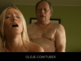 Fat old man gets fucks hot young blonde