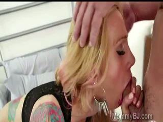Hardcore tattooed mommy gives a deep blowjob to her sons best friend