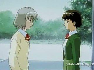 Anime schoolgirl fantasizing about her cute colleague