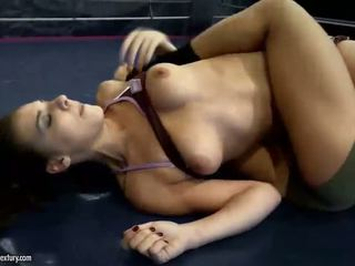 Young beauties in wild lesbian wrestling