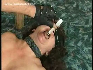 Crying slave with big tits gets spanked hard with a wooden s