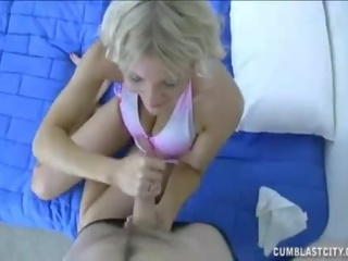 This Milf Uses Her Feet to Jack Him Off Till He Spurts Jizz
