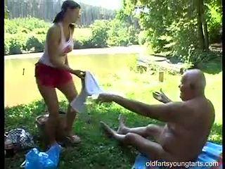 Cute teen lady shags with old grey man