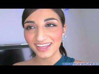 Busty arab teen swallows cum shot
