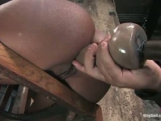 Monique tied to a chair and gets göt fucked with plastikden sik