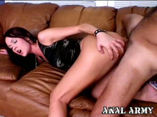 Winsome Brunette Hottie Bianca Pureheart Masturbating Her Asshole On The Couch