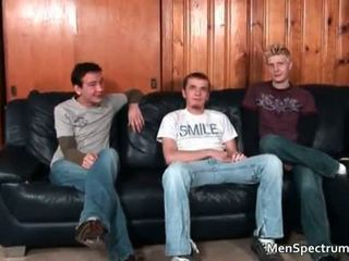 Great gay threesome scene with a lot